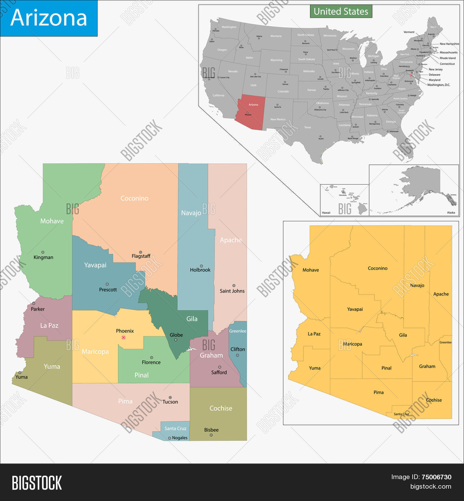 Map Of Arizona By County.Map Arizona State Vector Photo Free Trial Bigstock