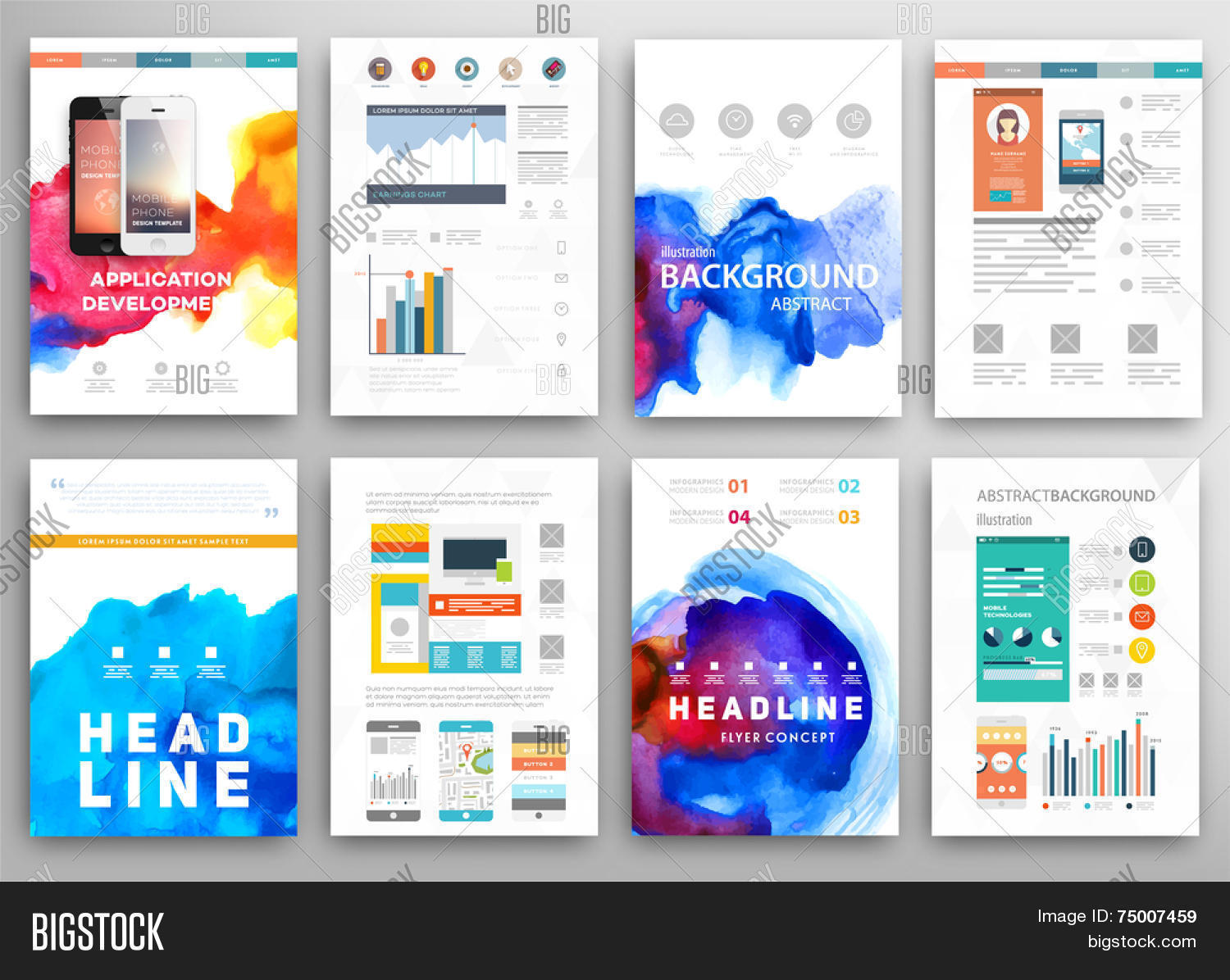 Set vector poster vector photo free trial bigstock set of vector poster templates with watercolor paint splash abstract aquarelle background for business flyers accmission Choice Image
