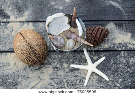 Vacation memories from the sea. Top view of Starfish on Wooden for postcard or Poster poster