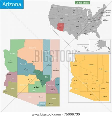 Map of Arizona state designed in illustration with the counties and the county seats