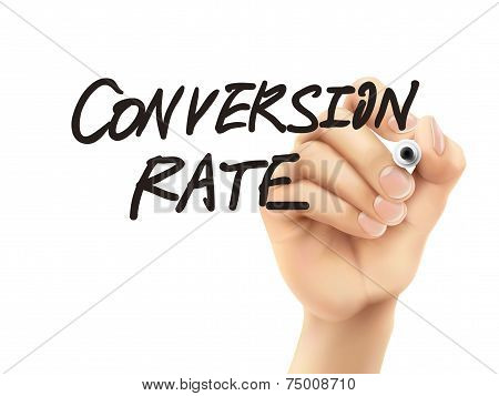 Conversion Rate Words Written By 3D Hand