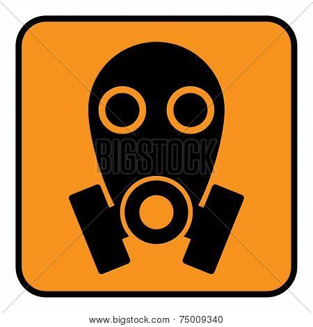 Gas Mask Sign On White Background