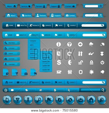 Collection Of Blue Modern Styled Website Design Elements - Web Icon Set and Web Interface Template Clip-Art - Vector Illustration