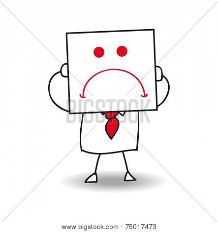 Unhappy businessman. Joe holds a sheet of paper on which is drawn a sad face. he is in the sulks, he is anonymous behind this sheet of paper.