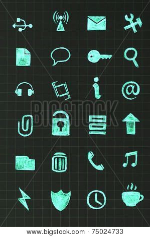 Basic vector web icons, white square buttons poster