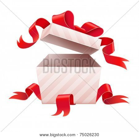 Open box with ribbon for holiday gift. Eps10 vector illustration. Isolated on white background