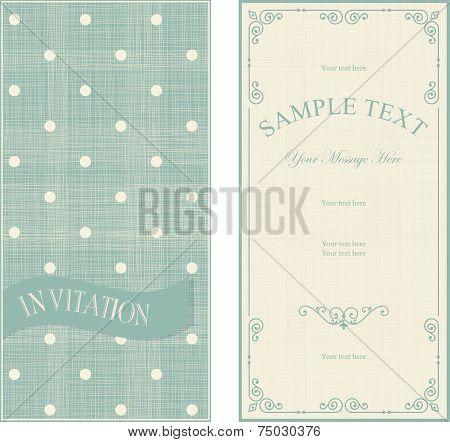 Set Of Invitation Cards On Vintage Polka Dots Background
