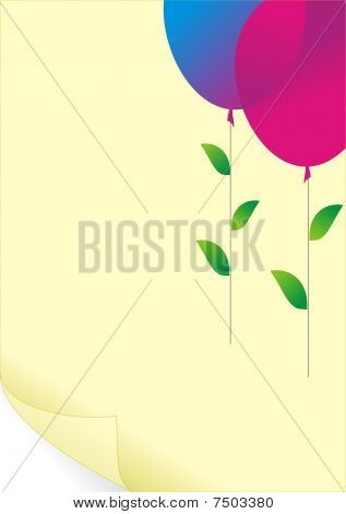 Paper and color balloons, green leaves