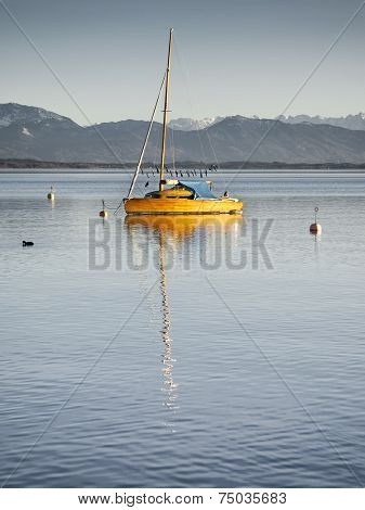 A sailing boat at the Starnberg Lake in Germany