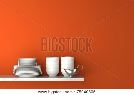 Dishes and gravy boat on kitchen shelf in front of organge wall (3D Rendering)