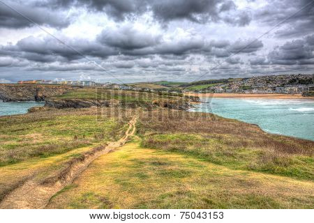 View from Trevelgue Head towards Porth beach Newquay Cornwall England UK in HDR