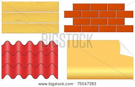 Isolated Wood Boards, Bricks, Ply Shingles And Wallpaper