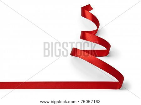 Christmas tree made of red ribbon isolated on white