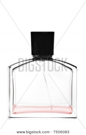Red rectangular perfume with black lid isolated on white