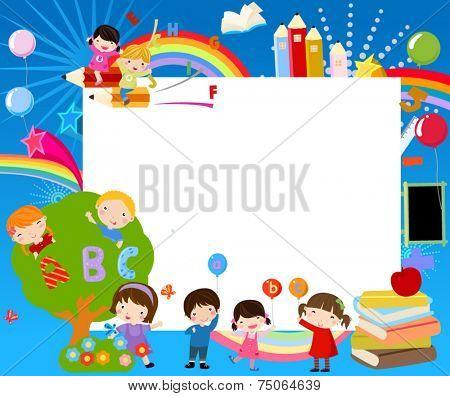 Vector illustration of school children and frame