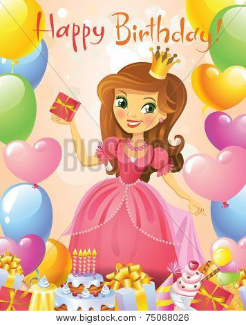 Happy Birthday, Princess, greeting card. Illustration of beautiful princess keeping a gift on a hand. Possible to use as party invitation, greeting card, banner. Vector illustration.  poster