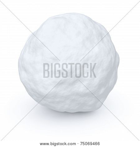 One white snowball isolated on white background poster