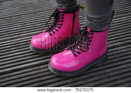 Cute Pink alternative girl or woman boots - standing tough