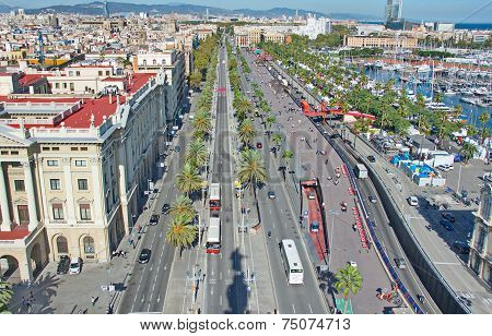 Aerial View Of Barcelona Passeig De Colom