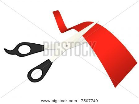 Illustration of detailed scissors cutting the ribbon