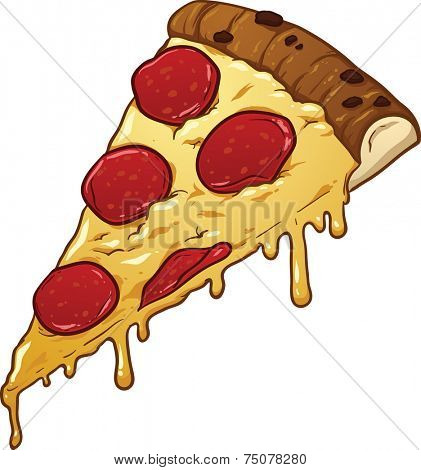 Salami pizza slice. Vector clip art illustration with simple gradients. All in a single layer.