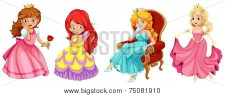 illustration of a set of princess and queens