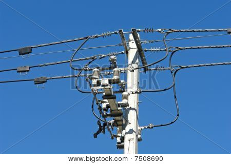 posts with high-voltage line