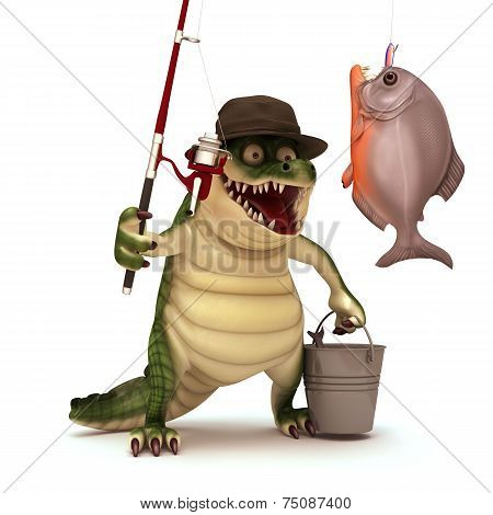 Croc ready for fishing