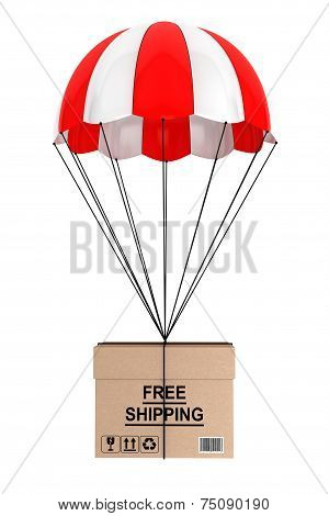 Free Shippimg Concept. Parachute With Box