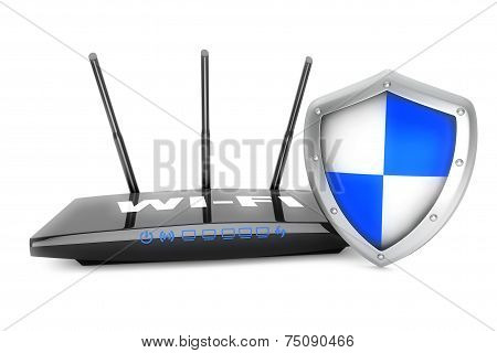 Internet Security Concept. Wifi Router With Shield