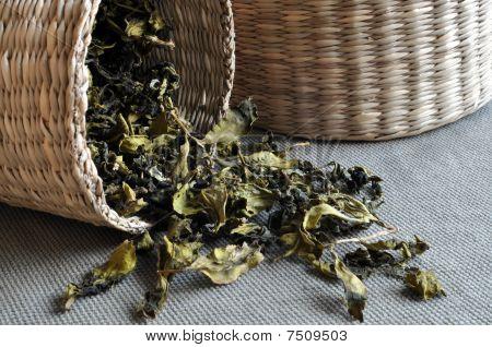 Baskets of tea leaves