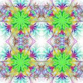 Beautiful pattern in fractal design. Collection - frosty pattern. Green palette. poster