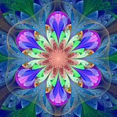 Symmetrical pattern in stained-glass window style. Blue purple and green palette. Computer generated graphics. poster