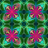 Symmetrical pattern of the flower petals. Green and purple palette. On black background. Computer generated graphics. poster