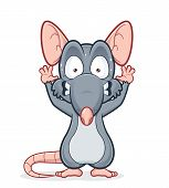 Vector clipart picture of a scared rat poster