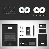 Limitless Abstract Logo Template and Identity with Flat Style Stationary Mockup Letterhead Envelope phone Business Cards etc. poster