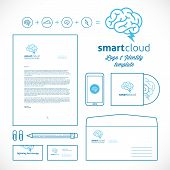 Smart Cloud Logo and Identity Template with Line Style Stationary Mockup Letterhead Envelope Smartphone Business Cards poster