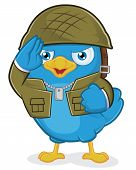 Clipart Picture of a Blue Bird Army Cartoon Character poster