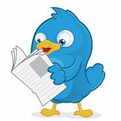 Clipart Picture of a Blue Bird Cartoon Character Reading a Newspaper poster