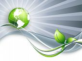 abstract environmental vector background with globe. Eps10 poster