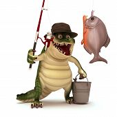 3d render cartoon  of croc with a fishing pole and fish poster