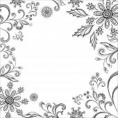 Floral background, symbolical flowers and leafs, contours. Vector poster
