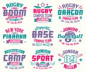 Baseball and rugby college team sport emblems. Graphic design for t-shirt. Color print on a white background poster