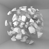 Abstract 3d background with flying white fragments of big sphere in empty room interior poster