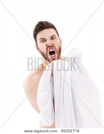 Crazy man isolated on white background