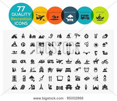 High Quality Recreation Icons including: travel, beach, sports, hotel and camping