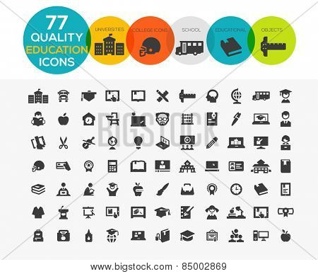 High Quality Education Icons including: teaching, University and college, Online study and more..