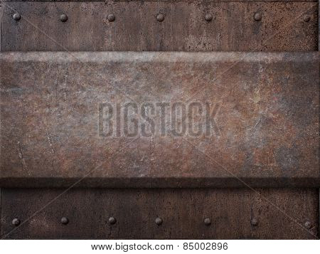 rusty tank armor metal texture with rivets as steam punk background