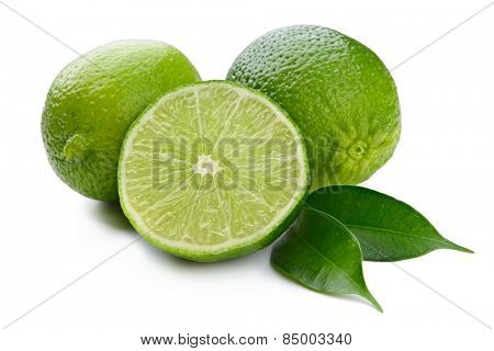 lime and leaves isolated on white