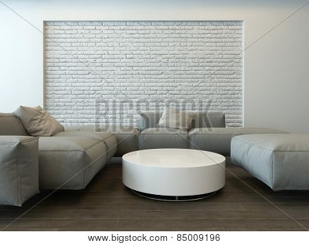 Tranquil modern grey living room interior with comfortable corner couches, a round white table and textured feature brick wall. 3d Rendering.
